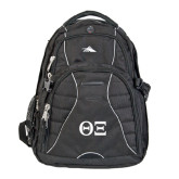 High Sierra Swerve Black Compu Backpack-Greek Letters - One Color