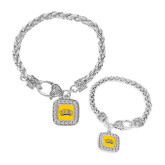 Silver Braided Rope Bracelet With Crystal Studded Square Pendant-Tyler Apaches Arched