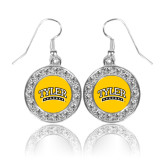 Crystal Studded Round Pendant Silver Dangle Earrings-Tyler Apaches Arched