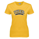 Ladies Gold T Shirt-Tyler Apaches Arched