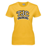 Ladies Gold T Shirt-TJC Apaches Arched