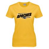 Ladies Gold T Shirt-Slanted Apaches