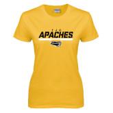 Ladies Gold T Shirt-TJC Apaches Stencil