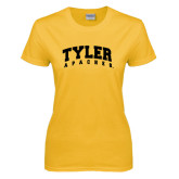 Ladies Gold T Shirt-Arched Tyler Apaches