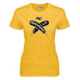Ladies Gold T Shirt-Feathers Up