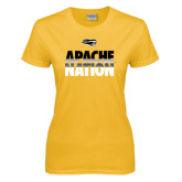 Ladies Gold T Shirt-Apache Nation