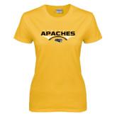 Ladies Gold T Shirt-Apaches Football Flat