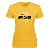 Ladies Gold T Shirt-Tyler Apaches Basketball Lined Ball