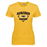 Ladies Gold T Shirt-Tyler Apaches Baseball Diamond