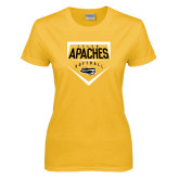 Ladies Gold T Shirt-Tyler Apaches Softball Plate