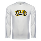 Performance White Longsleeve Shirt-Tyler Apaches Arched