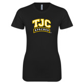 Next Level Ladies SoftStyle Junior Fitted Black Tee-TJC Apaches Arched