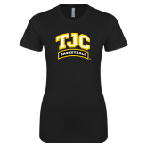 Next Level Ladies SoftStyle Junior Fitted Black Tee-Basketball