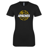 Next Level Ladies SoftStyle Junior Fitted Black Tee-Tyler Apaches Basketball Lined Ball