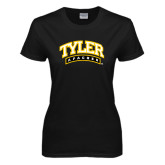 Ladies Black T Shirt-Tyler Apaches Arched