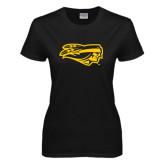 Ladies Black T Shirt-Apache Head