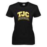 Ladies Black T Shirt-TJC Apaches Arched