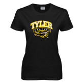 Ladies Black T Shirt-Official Logo Distressed