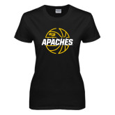 Ladies Black T Shirt-Tyler Apaches Basketball Lined Ball