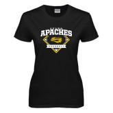Ladies Black T Shirt-Tyler Apaches Baseball Diamond