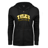ENZA Ladies Black Fleece Full Zip Hoodie-Tyler Apaches Arched
