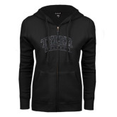 ENZA Ladies Black Fleece Full Zip Hoodie-Tyler Apaches Arched Graphite Glitter
