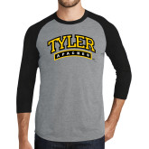 Grey/Black Tri Blend Baseball Raglan-Tyler Apaches Arched