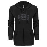 ENZA Ladies Black Light Weight Fleece Full Zip Hoodie-Tyler Apaches Arched Graphite Glitter