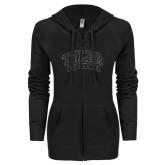 ENZA Ladies Black Light Weight Fleece Full Zip Hoodie-Tyler Apaches Arched Graphite Glitter