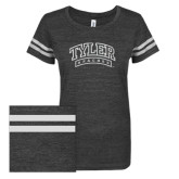 ENZA Ladies Black/White Vintage Triblend Football Tee-Tyler Apaches Arched White Soft Glitter