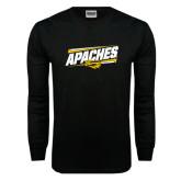 Black Long Sleeve TShirt-Slanted Apaches
