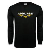 Black Long Sleeve TShirt-Apaches Football Flat