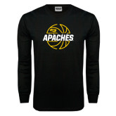Black Long Sleeve TShirt-Tyler Apaches Basketball Lined Ball