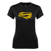 Ladies Syntrel Performance Black Tee-Apache Head
