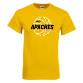 Gold T Shirt-Tyler Apaches Basketball Lined Ball