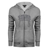 ENZA Ladies Grey Fleece Full Zip Hoodie-Tyler Apaches Arched Graphite Glitter