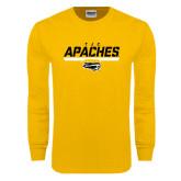 Gold Long Sleeve T Shirt-TJC Apaches Stencil