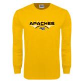 Gold Long Sleeve T Shirt-Apaches Football Flat