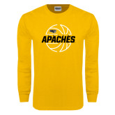 Gold Long Sleeve T Shirt-Tyler Apaches Basketball Lined Ball
