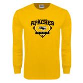 Gold Long Sleeve T Shirt-Tyler Apaches Baseball Diamond