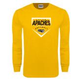 Gold Long Sleeve T Shirt-Tyler Apaches Softball Plate