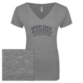 ENZA Ladies Graphite Melange V Neck Tee-Tyler Apaches Arched Graphite Glitter