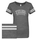 ENZA Ladies Dark Heather/White Vintage Triblend Football Tee-Tyler Apaches Arched White Soft Glitter