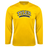 Performance Gold Longsleeve Shirt-Tyler Apaches Arched