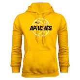 Gold Fleece Hoodie-Tyler Apaches Basketball Lined Ball