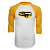 White/Gold Raglan Baseball T-Shirt-Apache Head