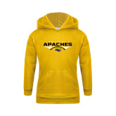 Youth Gold Fleece Hoodie-Apaches Football Flat