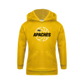 Youth Gold Fleece Hoodie-Tyler Apaches Basketball Lined Ball