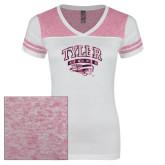 Ladies White/Bright Pink Juniors Varsity V Neck Tee-Official Logo Foil