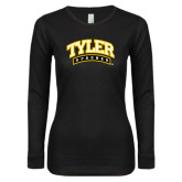 Ladies Black Long Sleeve V Neck T Shirt-Tyler Apaches Arched